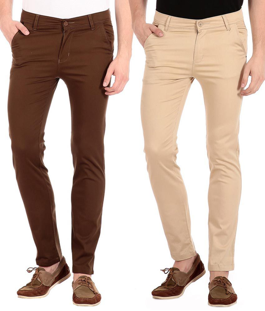 FlyJohn Brown And Beige Slim Fit Casual Chinos - Pack Of 2