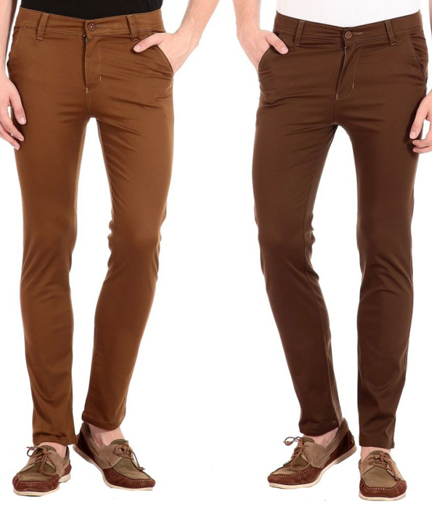 Flyjohn Brown Slim Fit Casual Chinos - Set Of 2