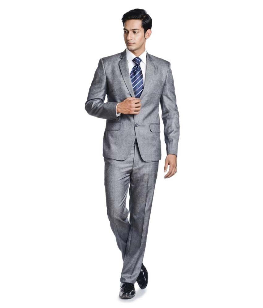 Poshak Grey Poly Blend Formal Suit