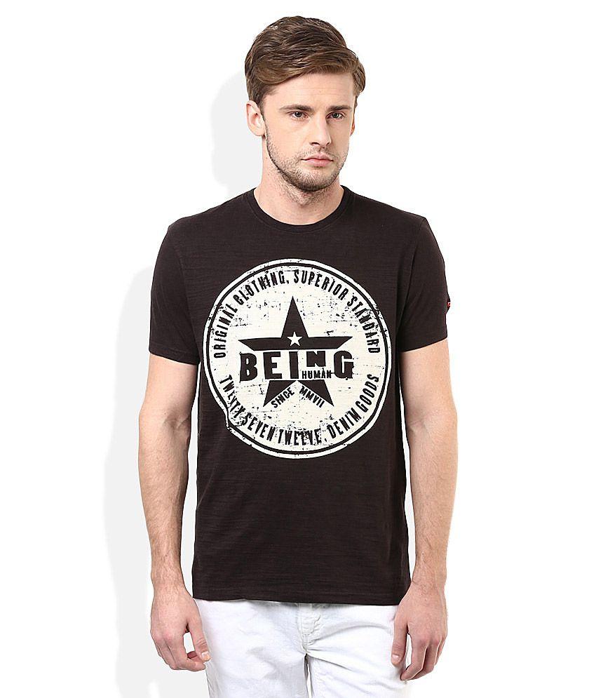 Being Human Black Round Neck T-Shirt