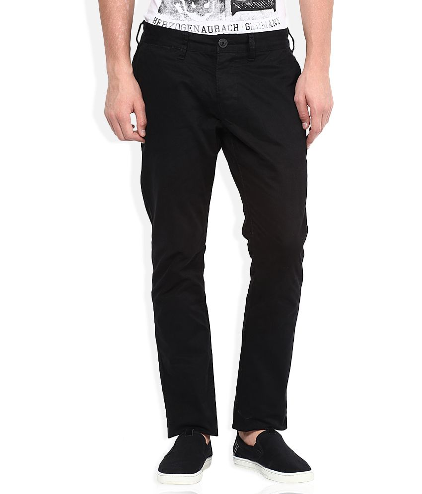 Being Human Black Solid Flat Front Trousers