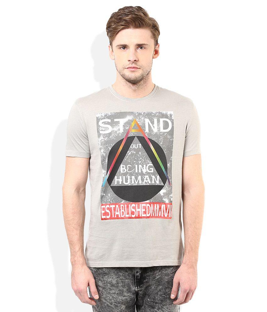 Being human grey printed round neck t shirt buy being for Buy being human t shirts online
