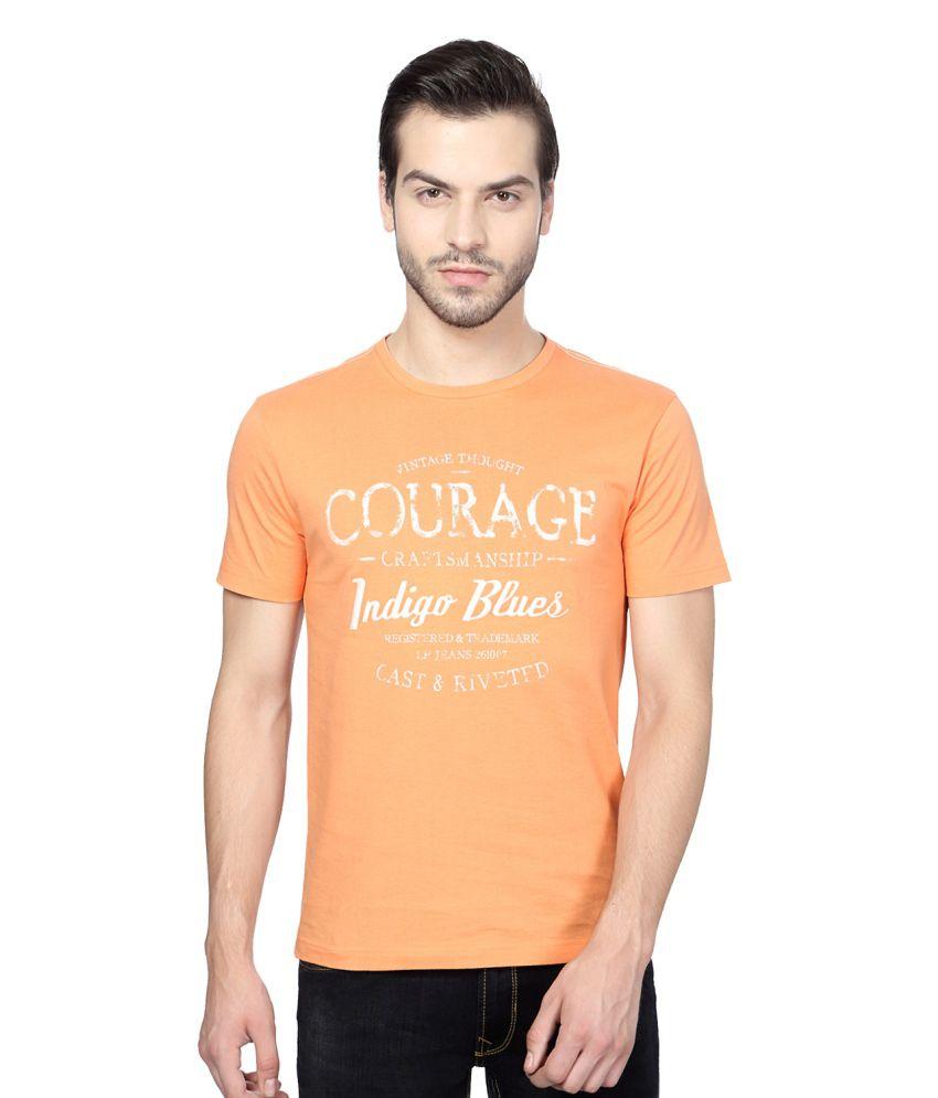 Louis Philippe Orange Cotton T-shirt