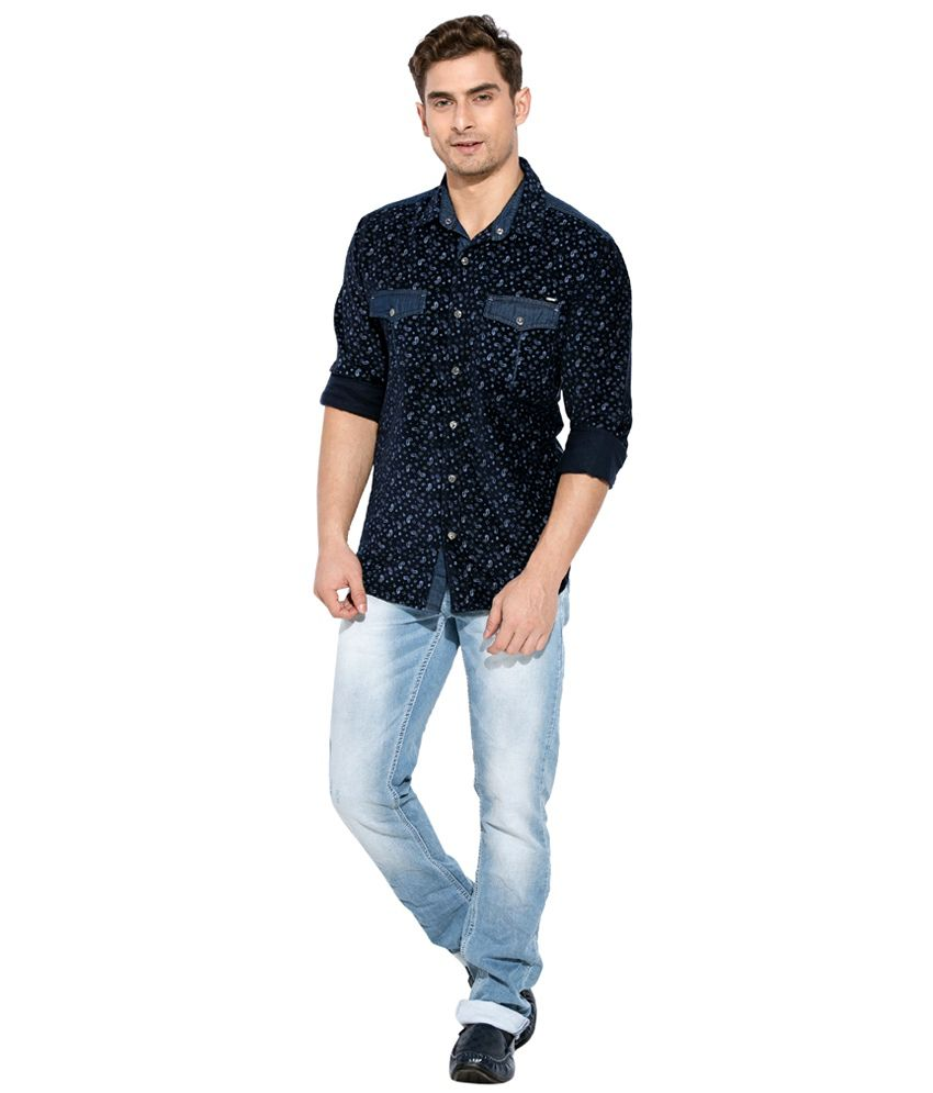 32de1544ae5b Mufti Navy Printed Shirt - Buy Mufti Navy Printed Shirt Online at ...