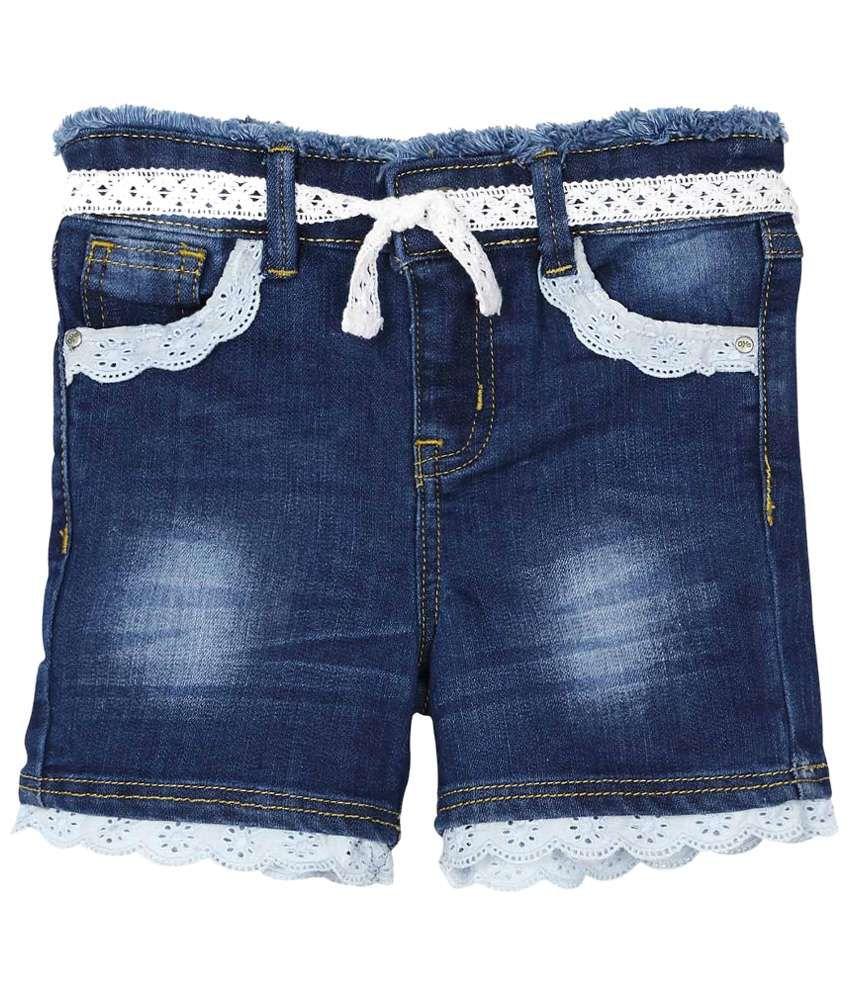 Oye Blue Denim Hot Shorts for Girls