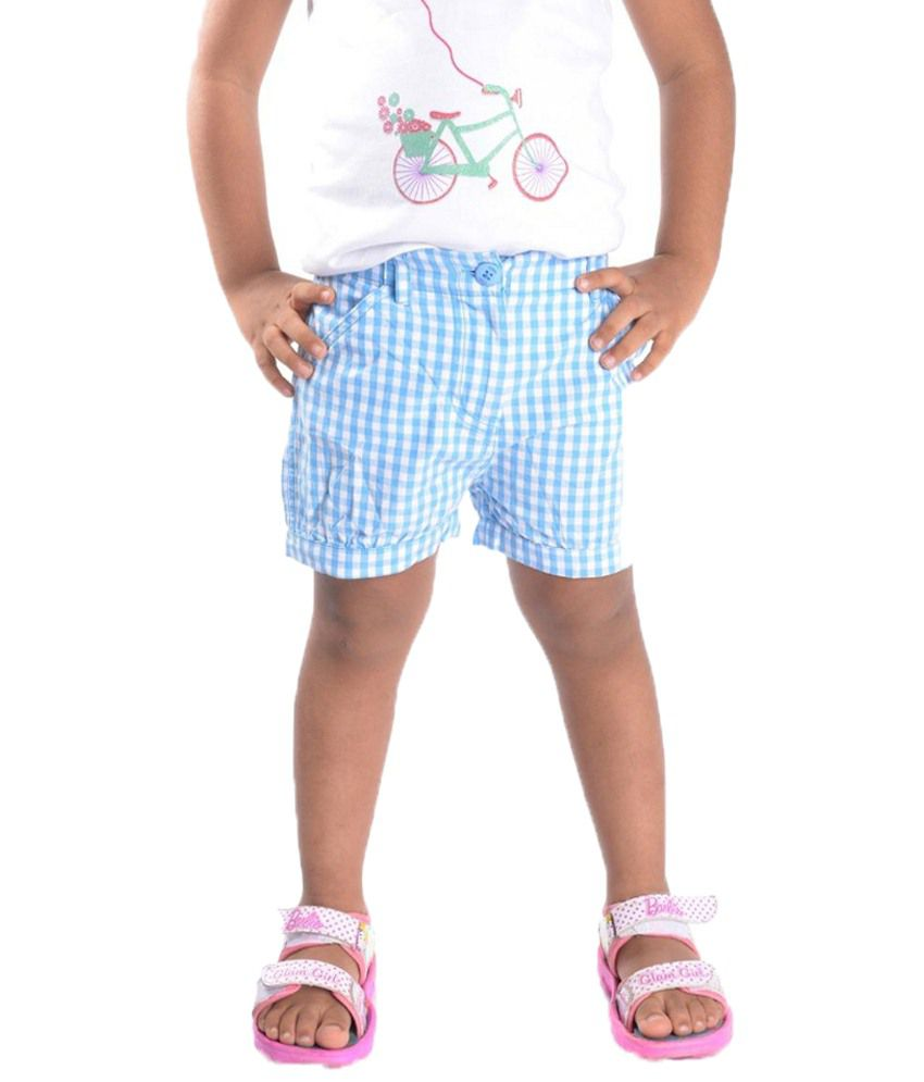 Oye Blue Gingham Shorts for Girls