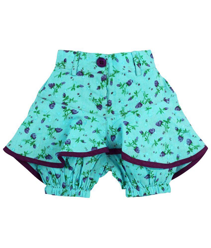 Oye Blue Ruffles Shorts for Girls