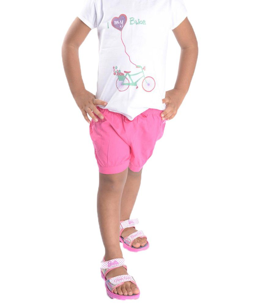 Oye Pink Solid Shorts for Girls