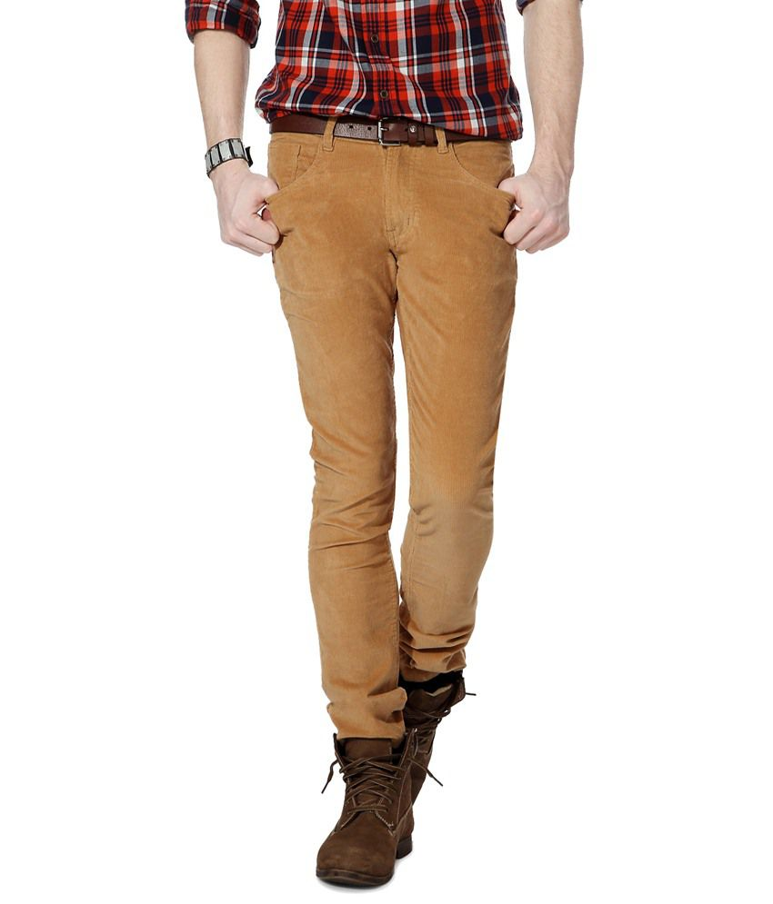 People Brown Daily Wear Corduroy Trousers
