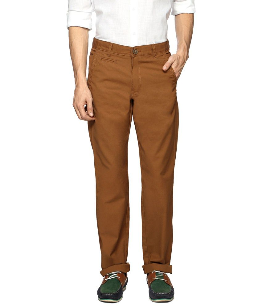 Peter England Bright Brown Casual Trousers