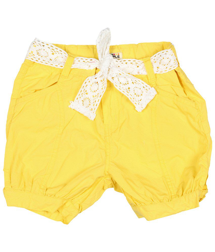 People Yellow Casual Shorts for Girls