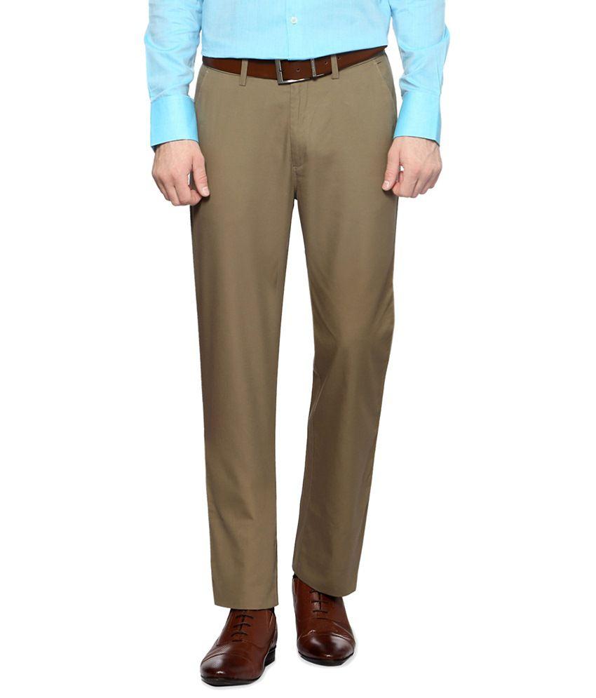 Peter England Khaki Formal Trousers