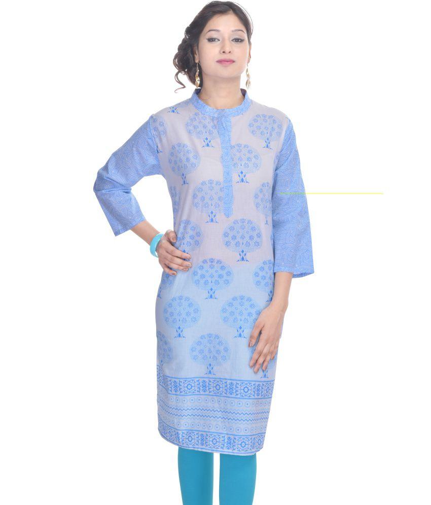 Shopping World Blue Cotton Kurti