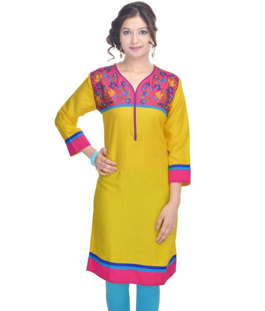 Shopping World Yellow Cotton Kurti