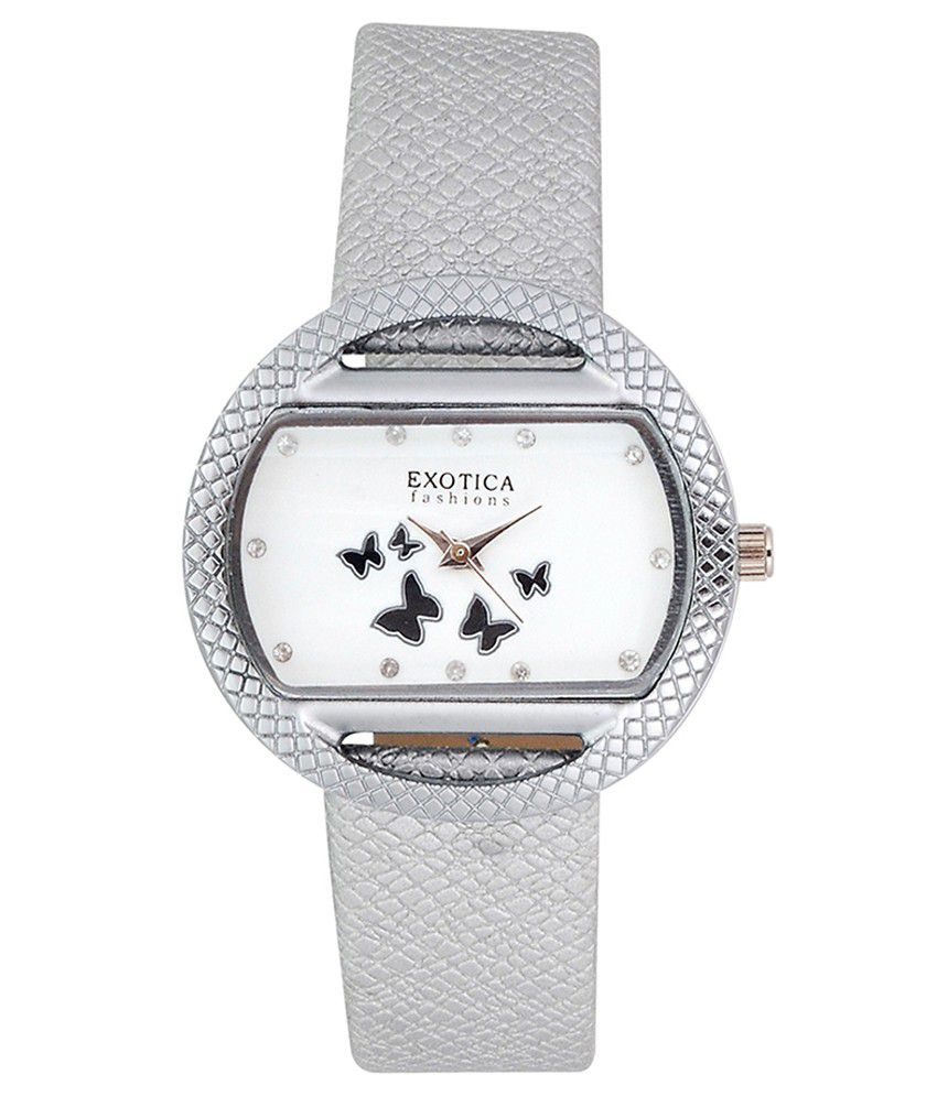 Exotica Fashions Exotica Fashions Watches White Leather Oval Quartz Watch