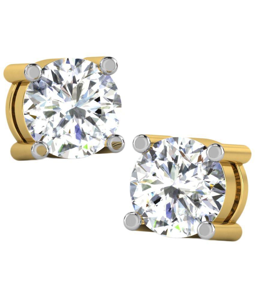 Fullcutdiamond 18 Kt Gold & 0.25 Ct Diamond Contemporary Stud Earrings