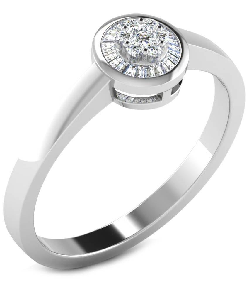 Fullcutdiamond 18 Kt White Gold & 0.14 Ct Diamond Contemporary Ring for Women