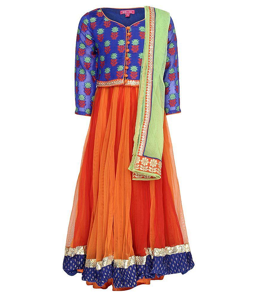 Biba Blue & Orange Lehnga Choli With Dupatta