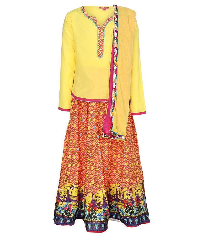 Biba Multicolored Lehnga Choli With Dupatta
