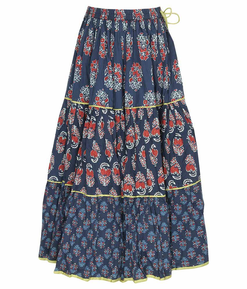 Biba Navy Printed Long Skirt