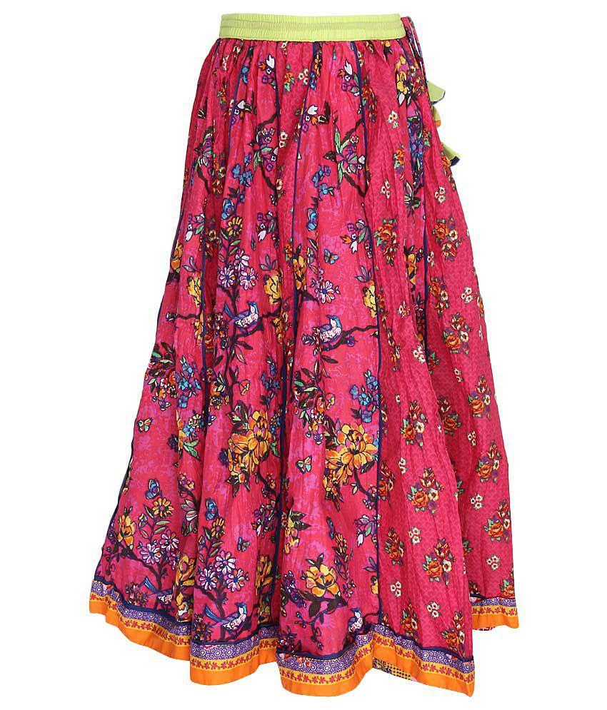 Biba Pink Printed Long Skirt