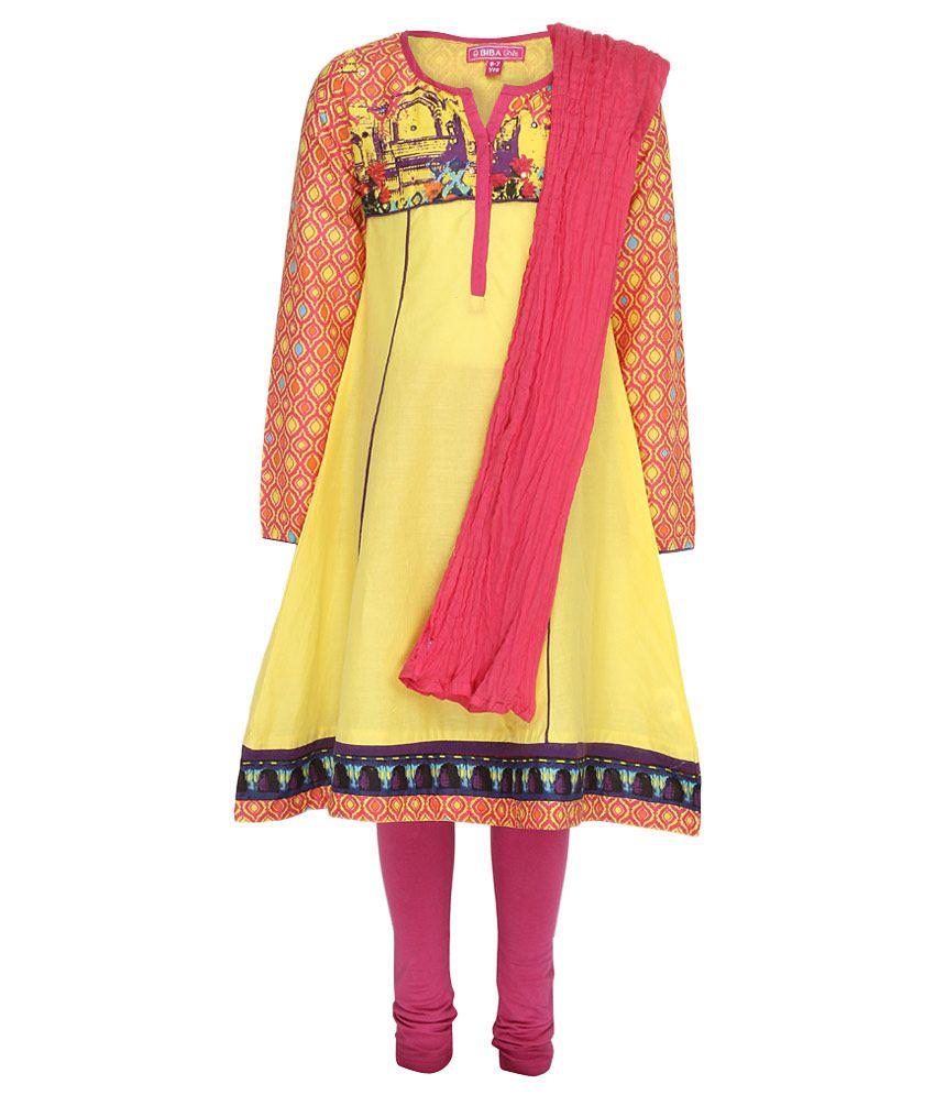 Biba Yellow & Pink Churidar Kurta With Dupatta