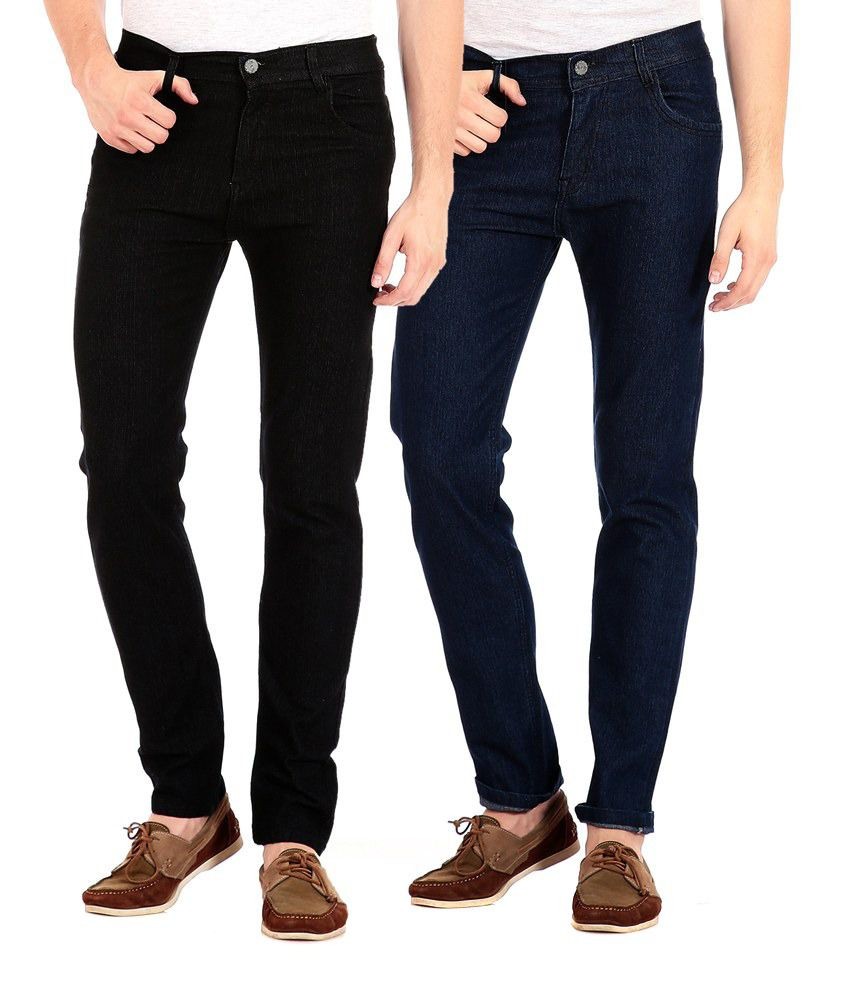 Flyjohn Multicolor Slim Fit Jeans - Combo Of 2