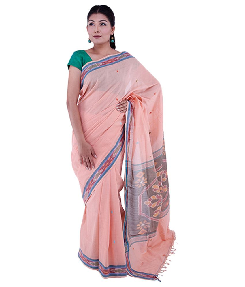 Co Optex Peach Kancheepuram Cotton Saree With Blouse Piece
