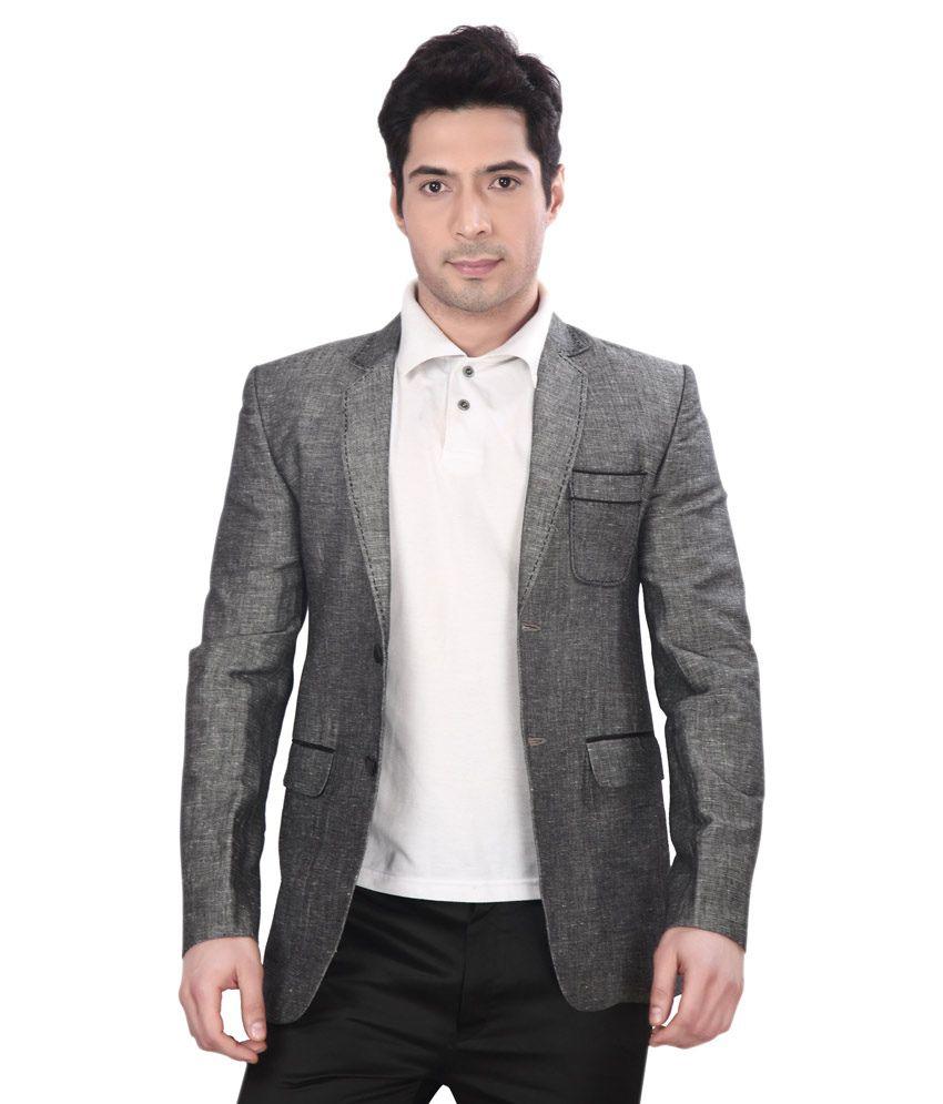 Dheerajsharma Grey Linen Blazer