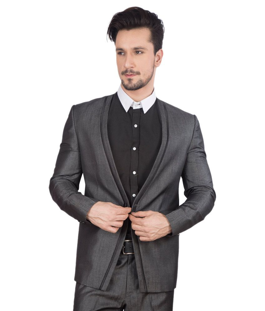 Dheerajsharma Grey Poly Blend Suits