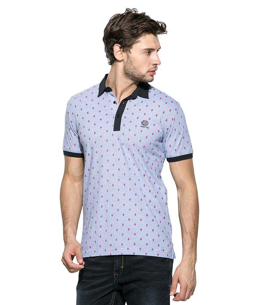 Mufti blue printed polo t shirt buy mufti blue printed for Polo t shirt printing