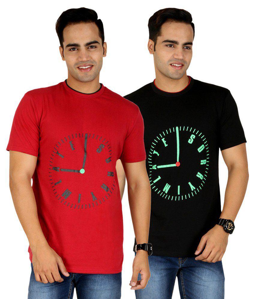 Pro Lapes Multicolour Cotton T-shirt - Pack Of 2