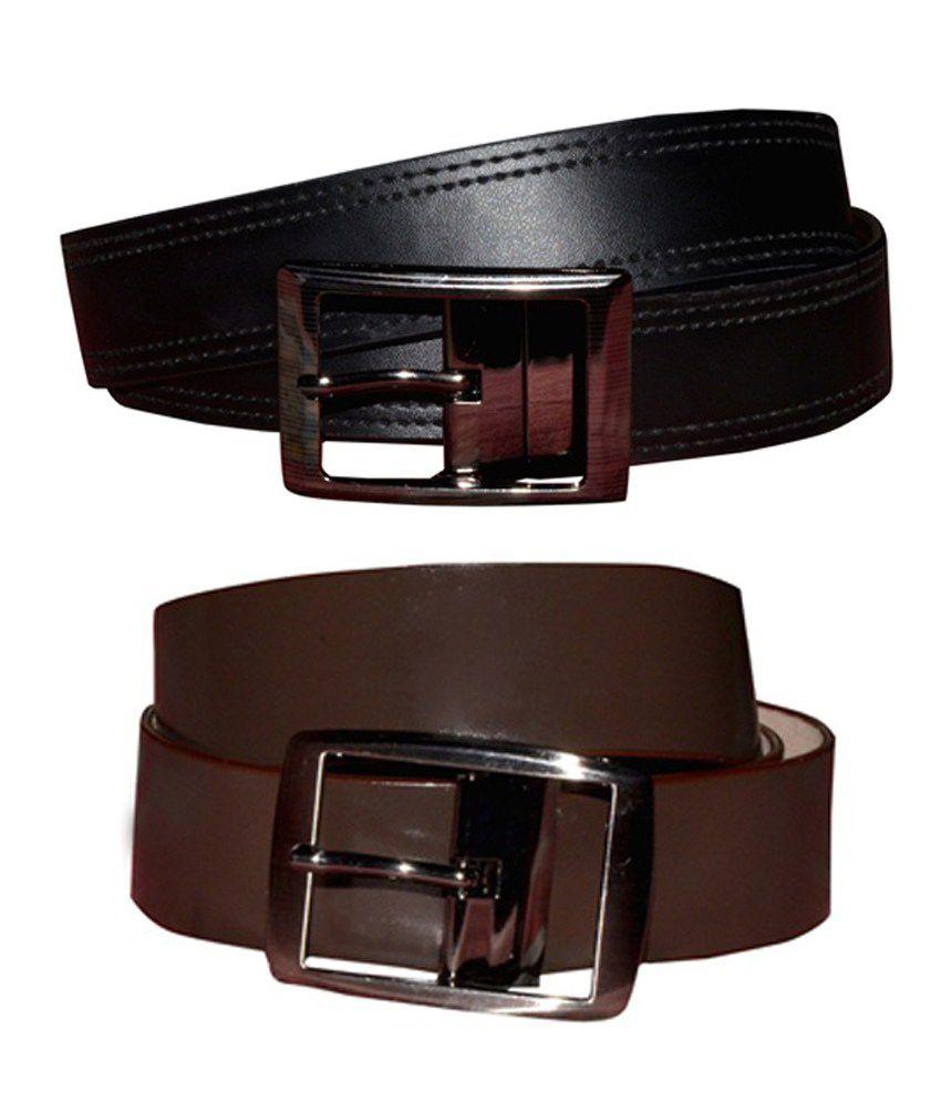 Virgo Reversible Mens Black Leather Belts(Combo of 2)