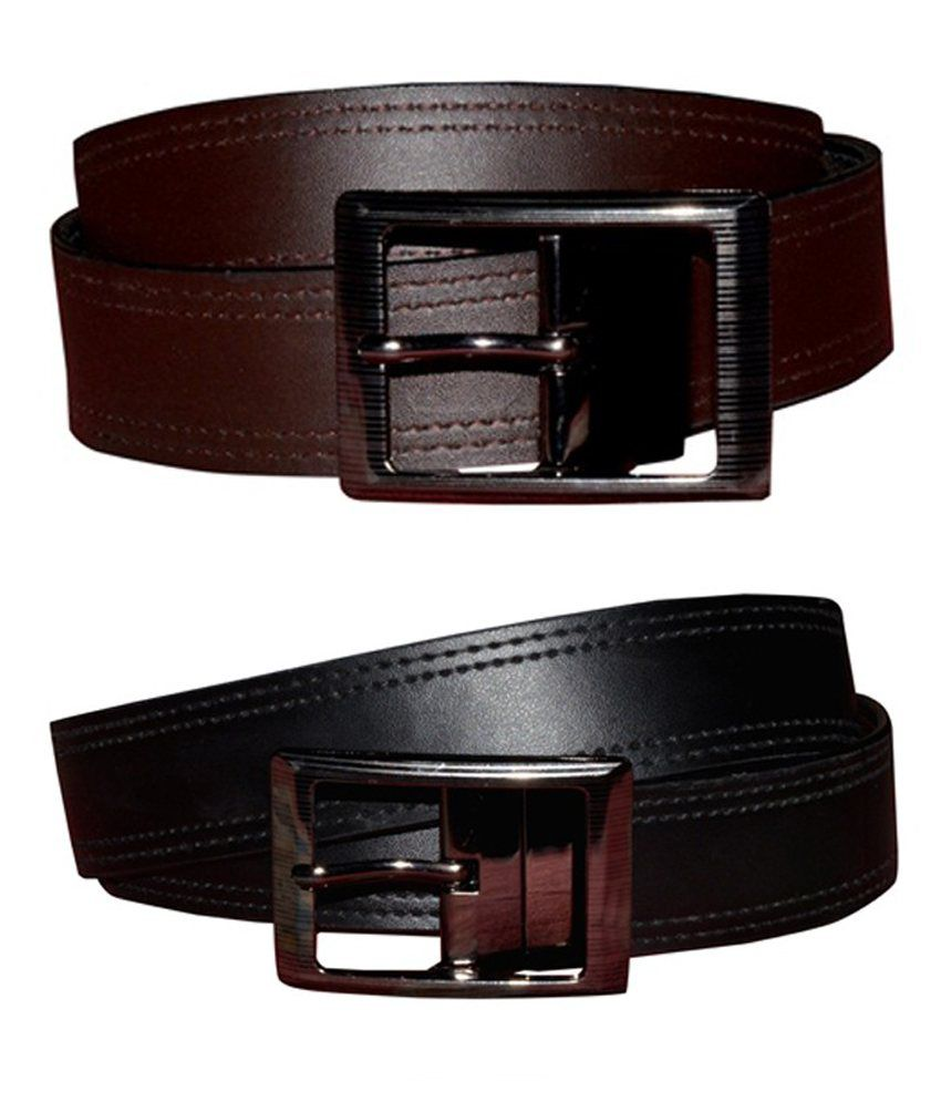 Virgo Reversible Mens Brown Leather Belts(Combo of 2)