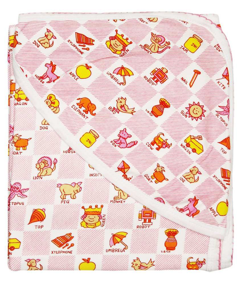 Wonderkids Pink Multi Print Baby Hooded Wrapper