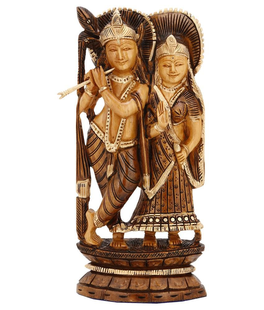 Collectible India Wooden Love Religious Couple Lord Radha Krishna Statue