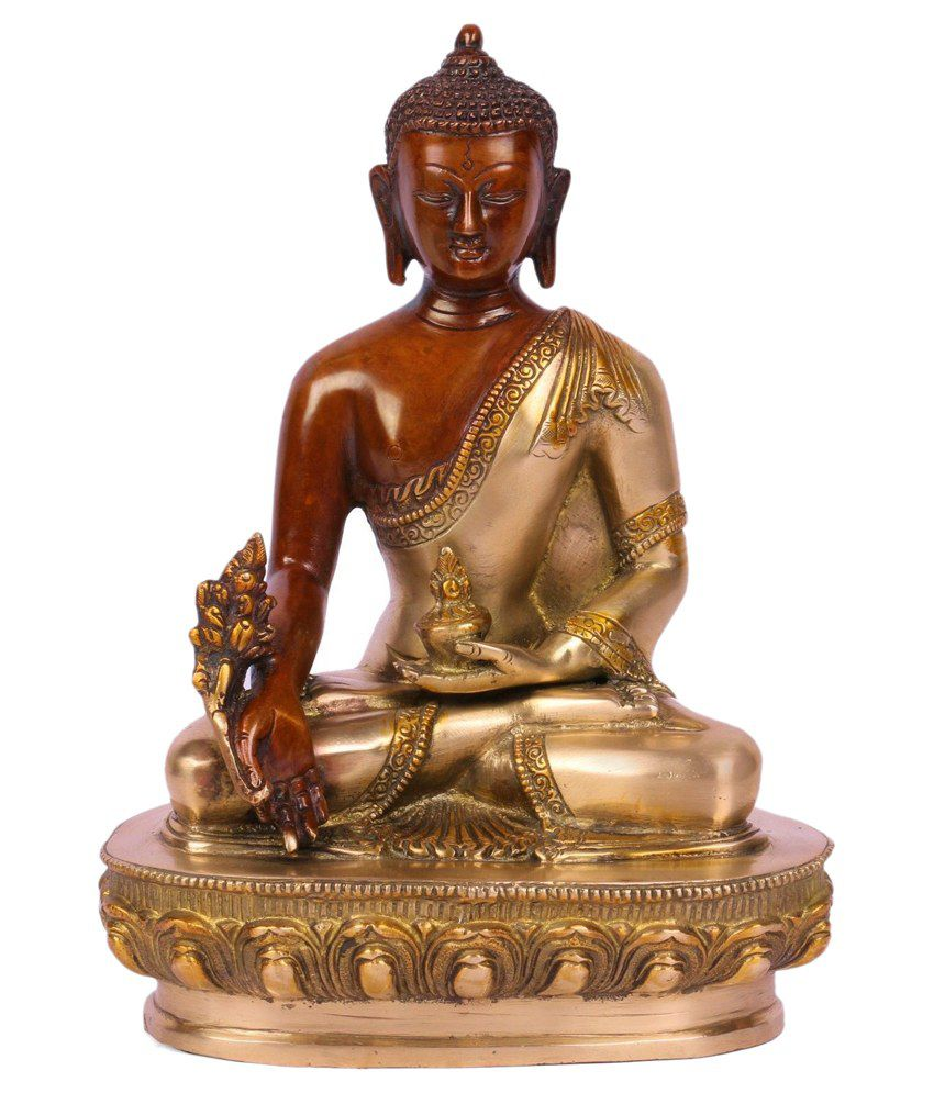 Collectible India Brass Golden Dual Color  Medicine Buddha Statue