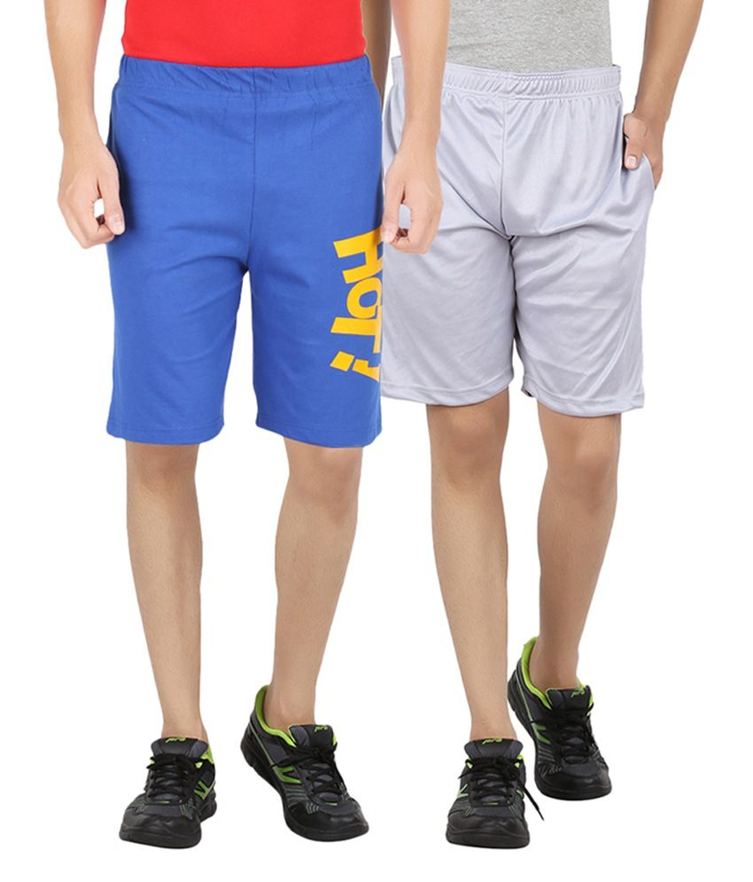 DK Clues Blue & Gray Cotton Shorts (Pack of 2)