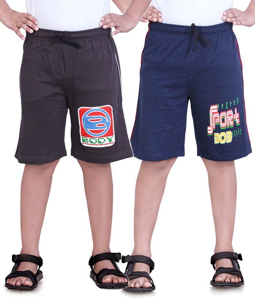 Dongli Navy Cotton Shorts For Boys-Pack Of 2