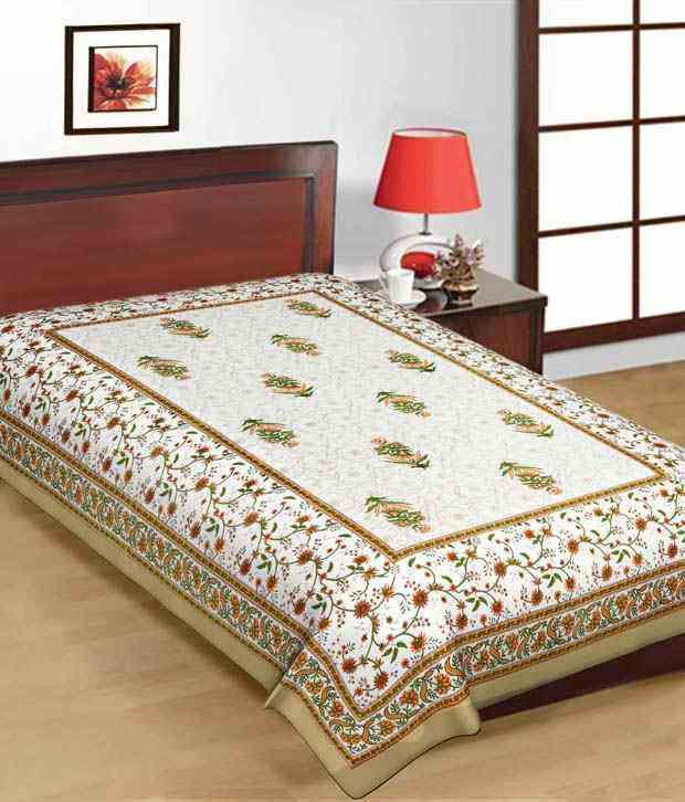 Kismat Collection Brown Printed Cotton Bedsheet