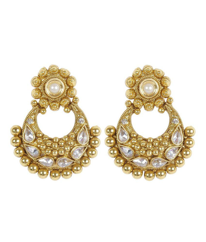 Much More Traditional Fashion Design Gold Plated Polki Earring