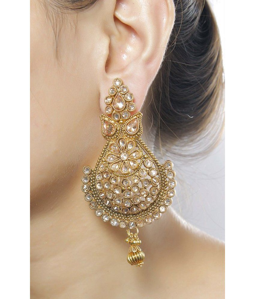 Much More Indian Traditional Gold Plated Peach Color Polki Earring