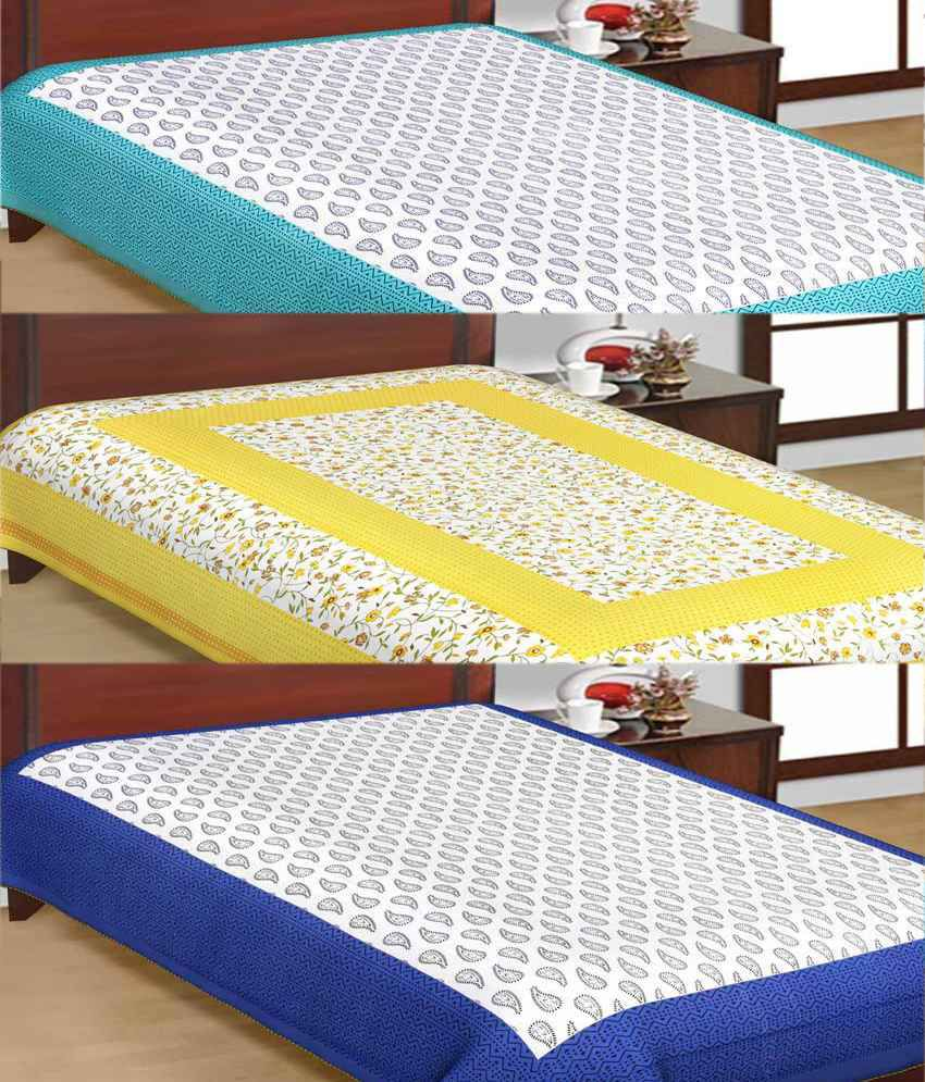 UniqChoice Jaipuri Traditional Print Cotton Three Single Bed Sheet Combo ...