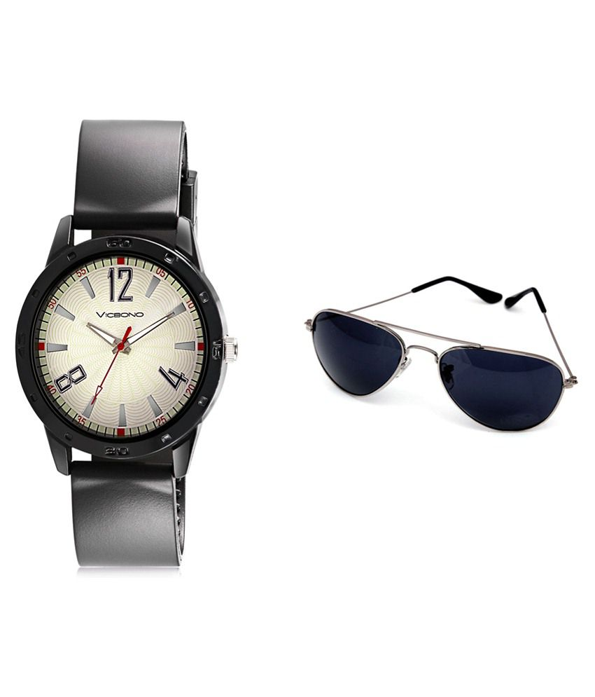 Vicbono Black Analog Watch With Sunglasses