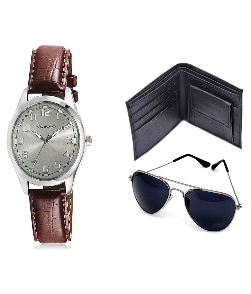 Vicbono Brown Analog Watch With Wallet & Sunglasses