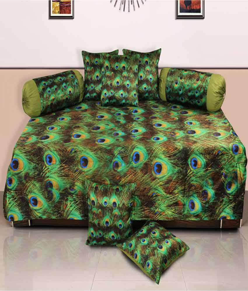 Dekor World Green Floral Polyester Diwan Set