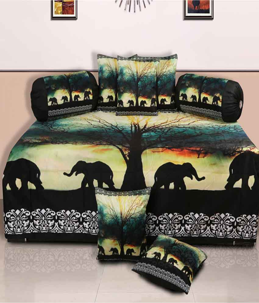 Dekor World Multi-Colour Natural Polyester Diwan Set