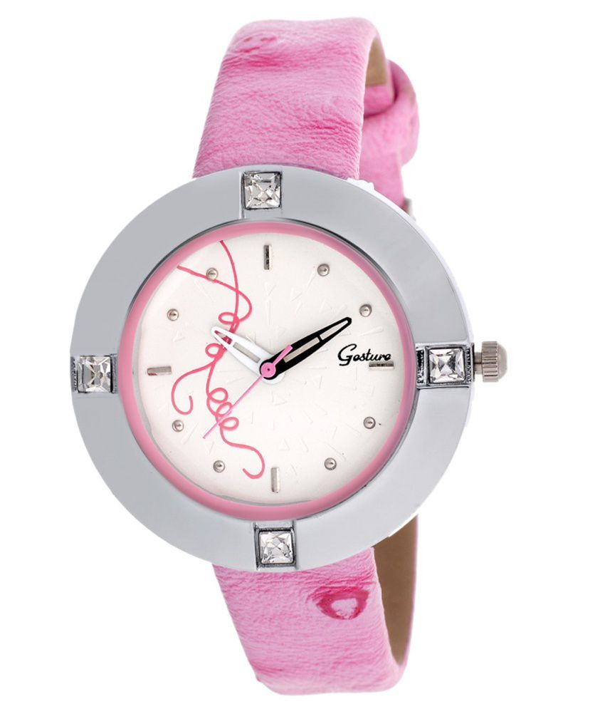 Gesture Pink Leather Analog Round Watch