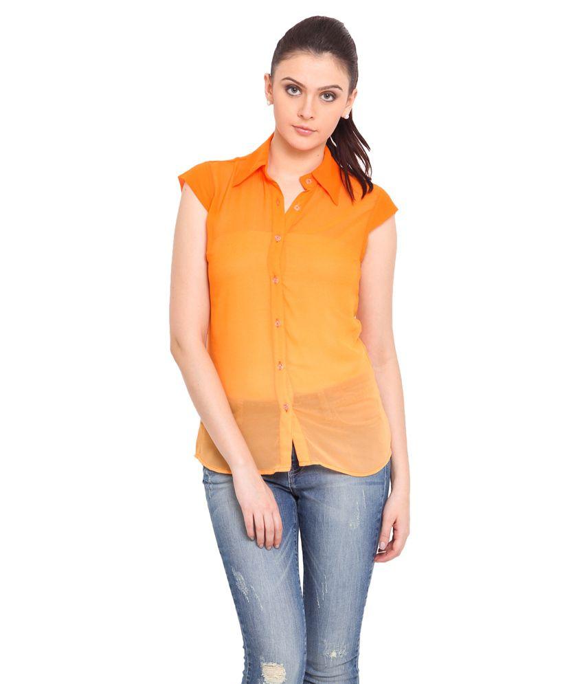 Trend Arrest Orange Polyester Shirts