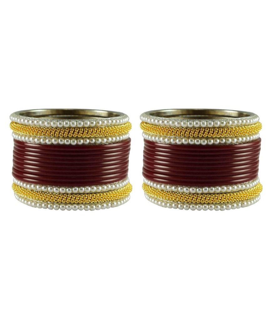 Vidhya Kangan Maroon Brass Antique Bangle Set